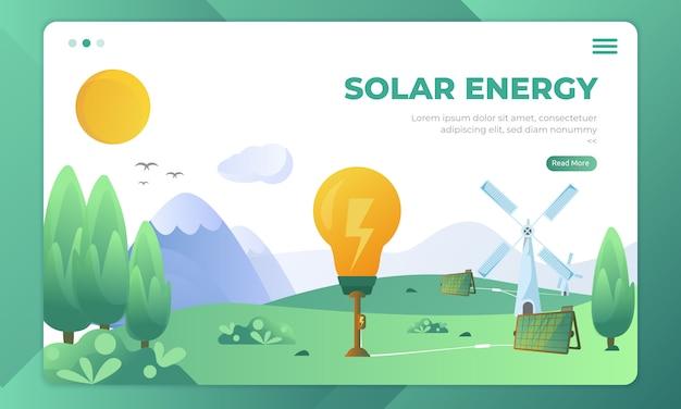 Risorse alternative utilizzando l'energia solare, illustrazione naturale sulla pagina di destinazione Vettore Premium