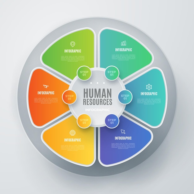 Risorse umane colorate infografica con dettagli Vettore gratuito