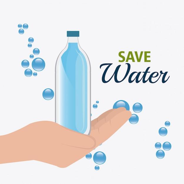 Risparmia acqua design. Vettore gratuito