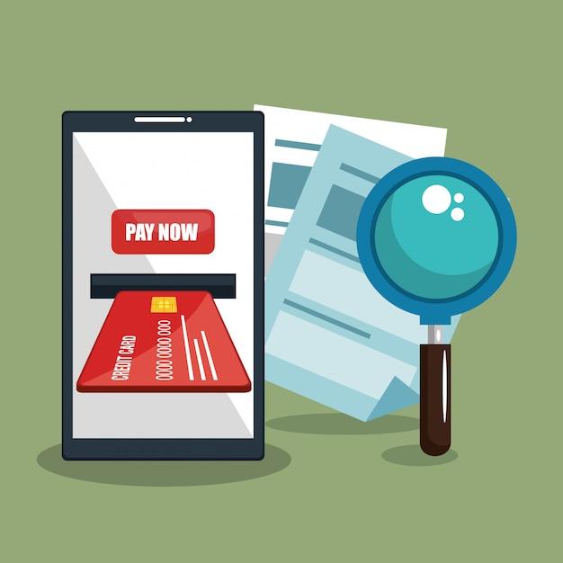 Risparmia denaro online con lo smartphone Vettore gratuito