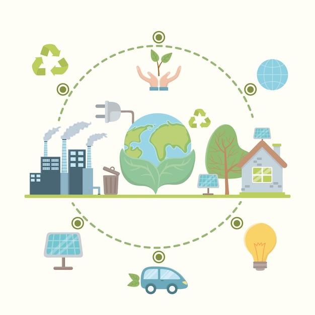 Risparmia energia ed ecologia Vettore Premium