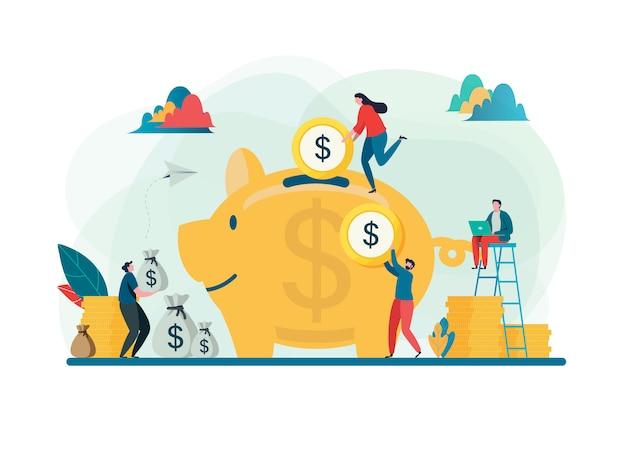 Risparmia il concetto di denaro. Vettore Premium