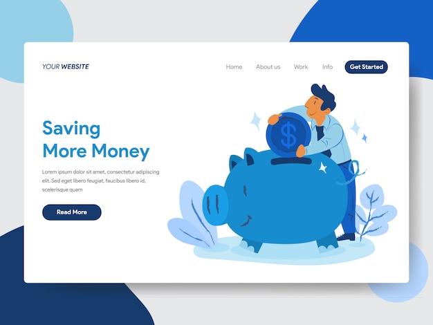 Risparmiare denaro con piggy bank illustrazione per pagine web Vettore Premium