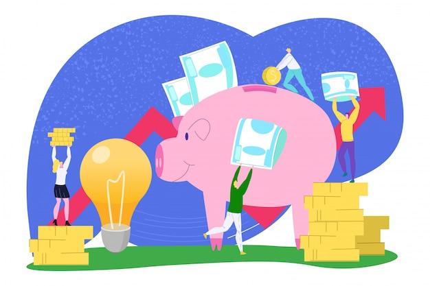 Risparmio dei soldi di affari, illustrazione finanziaria della moneta. equipaggi l'investimento bancario della gente della donna per l'idea del fumetto, concetto di reddito. economia di successo nel maiale, profitto del lavoro di squadra. Vettore Premium