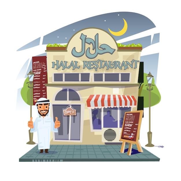 Ristorante halal con proprietario del ristorante Vettore Premium