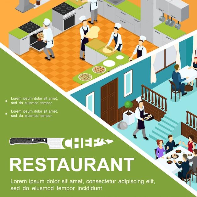 Ristorante isometrico che cucina composizione con i cuochi che preparano pizza nel cameriere della cucina e gli ospiti che mangiano ai tavoli Vettore gratuito