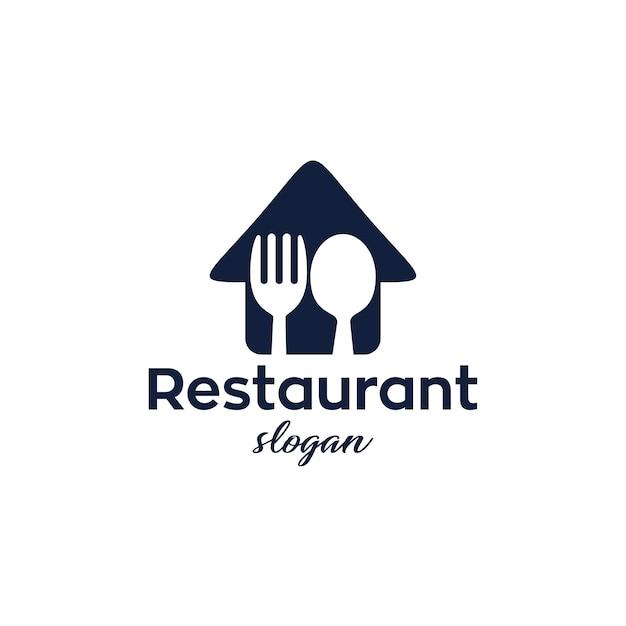 Ristorante logo design moderno e semplice Vettore Premium