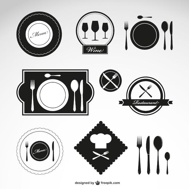 Ristorante simboli vettoriali set Vettore gratuito