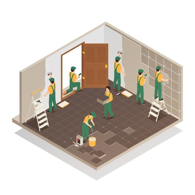 Ristrutturazione casa composizione isometrica Vettore gratuito