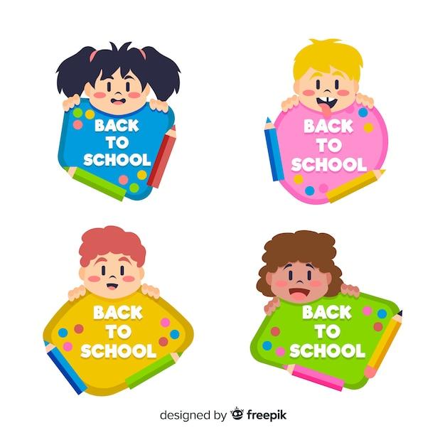 Ritirato a mano alla collezione di etichette scolastiche Vettore gratuito