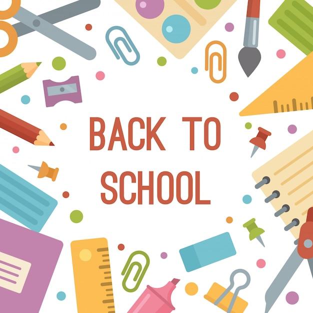 Ritorno a scuola, banner icone piane di cancelleria. Vettore Premium