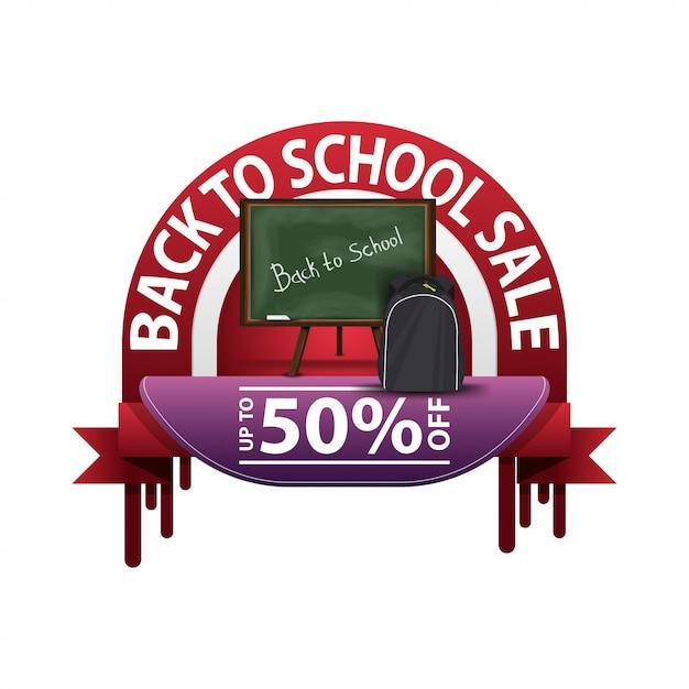 Ritorno a scuola, banner sconto rotondo per il tuo sito web Vettore Premium