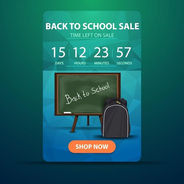 Ritorno a scuola, banner web con conto alla rovescia fino alla fine della vendita con consiglio scolastico Vettore Premium