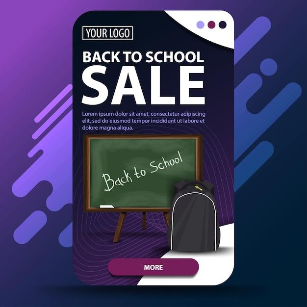 Ritorno a scuola, banner web verticale Vettore Premium