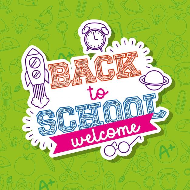 Ritorno a scuola carta con cartoni animati Vettore Premium
