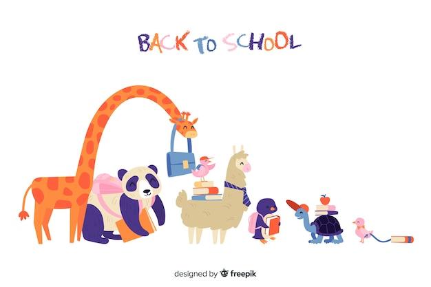 Ritorno a scuola collezione di animali Vettore gratuito