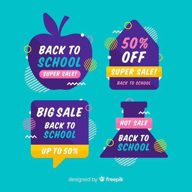 Ritorno a scuola collezione di etichette di vendita Vettore gratuito