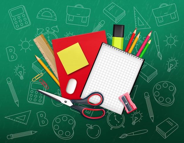Ritorno a scuola composizione creativa Vettore Premium