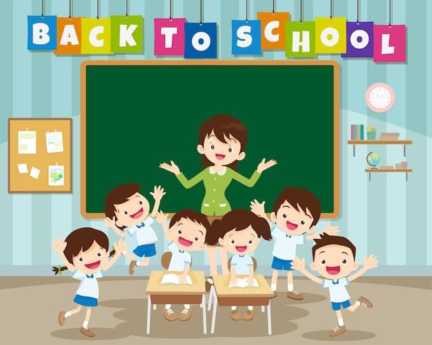 Ritorno a scuola con alunni delle scuole elementari Vettore Premium