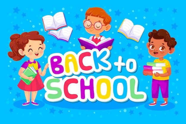 Ritorno a scuola con bambini e libri Vettore gratuito