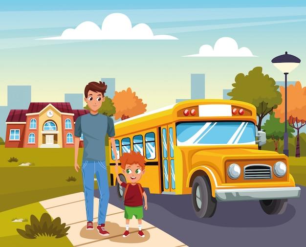 Ritorno a scuola con la felicità Vettore gratuito