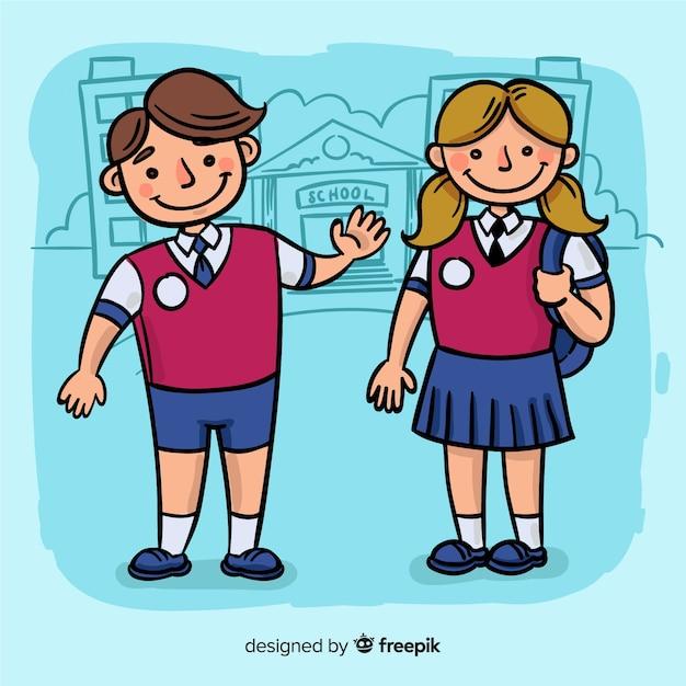 Ritorno a scuola di bambini disegnati a mano Vettore gratuito
