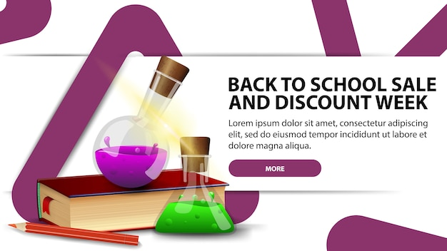 Ritorno a scuola e sconti settimana, banner moderno sconto con design alla moda per il tuo sito web Vettore Premium