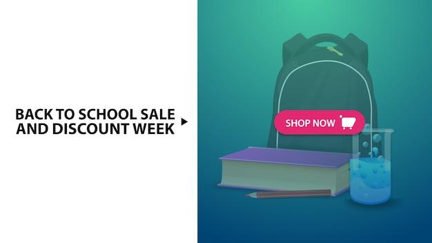 Ritorno a scuola e settimana di sconto, banner web sconto orizzontale blu Vettore Premium