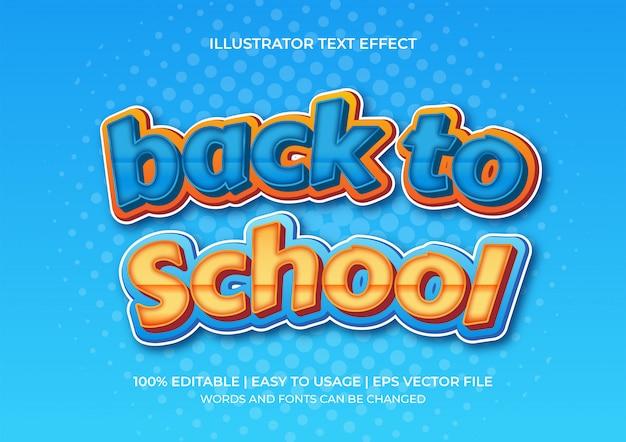 Ritorno a scuola effetto testo 3d con sfumature di arancione e blu Vettore Premium