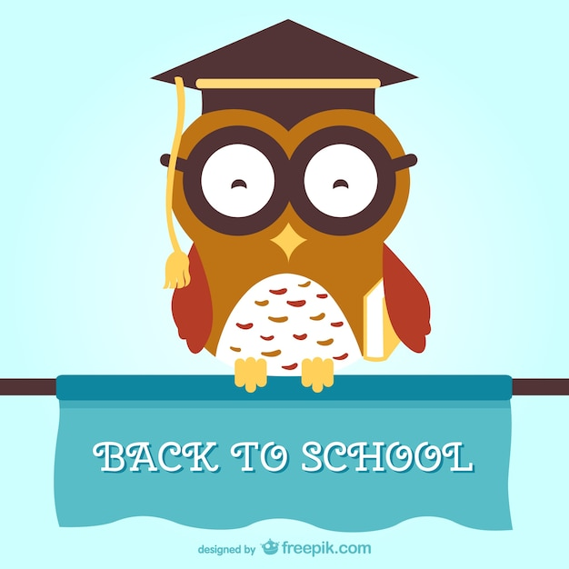 Ritorno a scuola gufo saggio Vettore gratuito