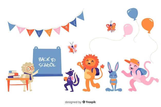 Ritorno a scuola insieme degli animali Vettore gratuito