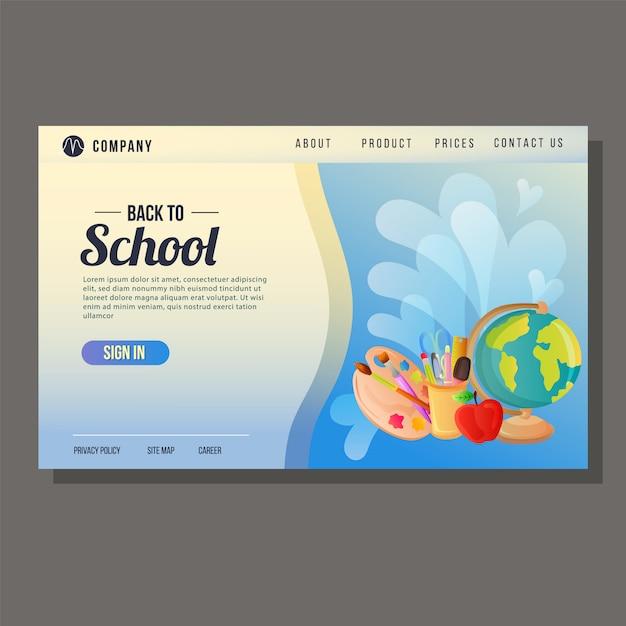 Ritorno a scuola landing page istruzione sfondo blu Vettore Premium