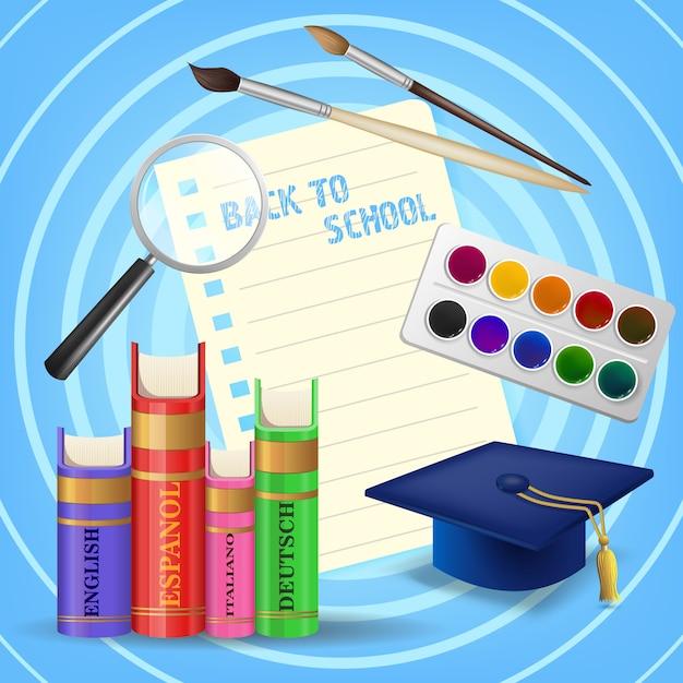 Ritorno a scuola lettering con libri di testo e vernici Vettore gratuito