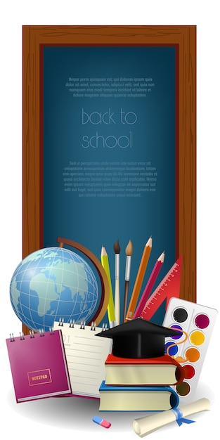 Ritorno a scuola lettering in cornice e forniture Vettore gratuito