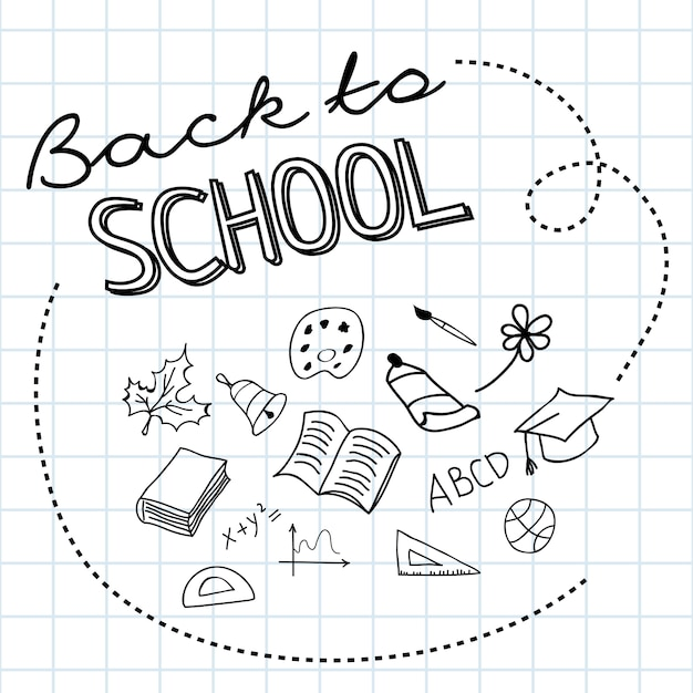 Ritorno a scuola lettering su carta a quadretti e scarabocchi disegnati a mano Vettore gratuito