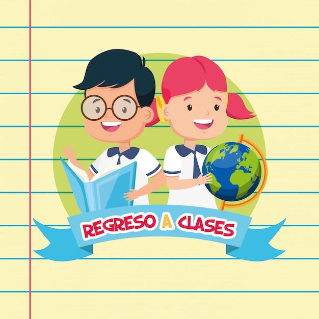 Ritorno a scuola per bambini Vettore gratuito