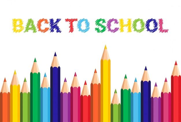 Ritorno a scuola poster pastelli colorati matite Vettore Premium