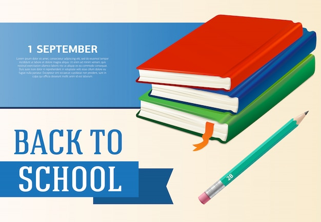 Ritorno a scuola, primo di settembre, design di manifesti con libri di testo Vettore gratuito