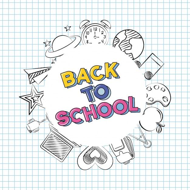 Ritorno a scuola scarabocchiare elementi scolastici su un foglio di quaderno Vettore gratuito