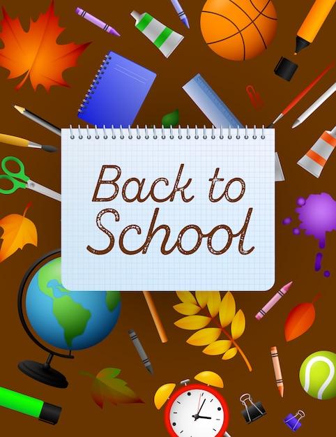 Ritorno a scuola scritte sul foglio di carta quaderno, matite Vettore gratuito
