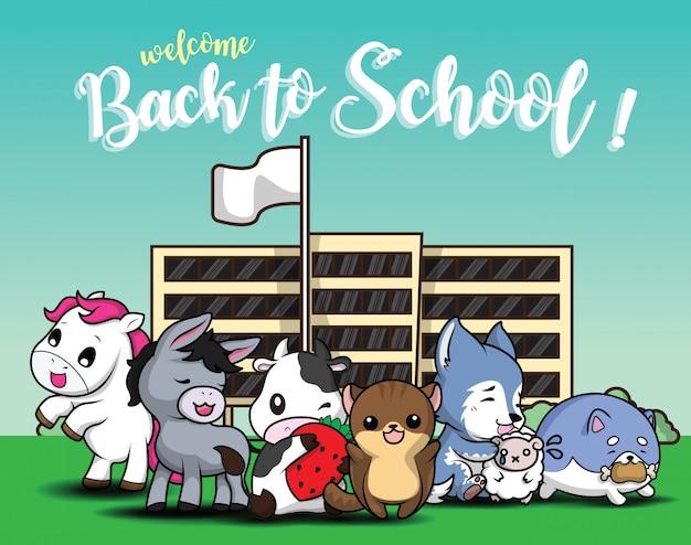 Ritorno a scuola., simpatico cartone animato animale. Vettore Premium