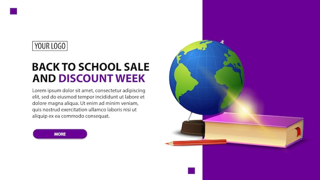 Ritorno a scuola vendita e sconto settimana, sconto banner web minimalista bianco Vettore Premium