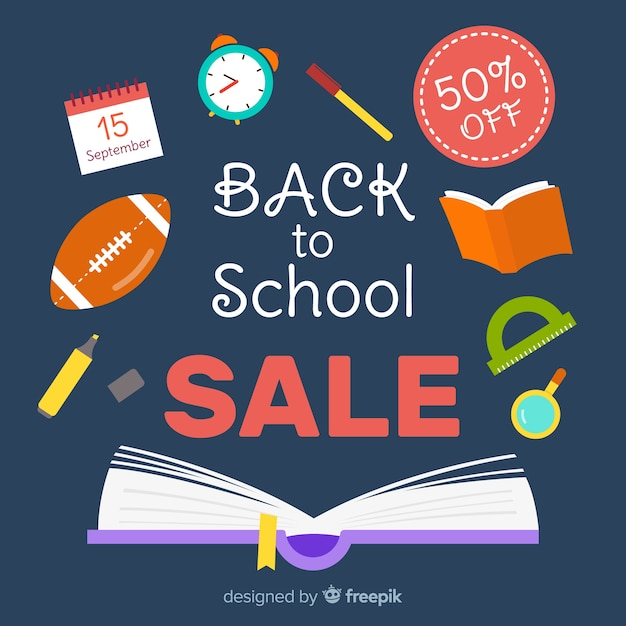Ritorno a sfondo di vendite scolastiche Vettore gratuito