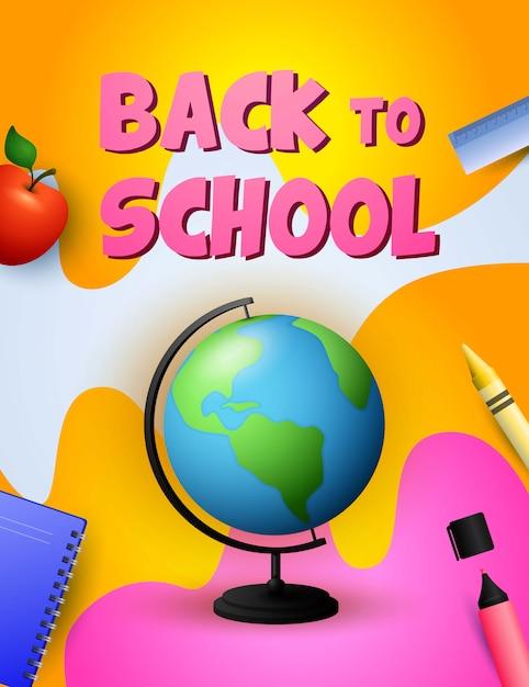 Ritorno al design della scuola. globe, mela Vettore gratuito