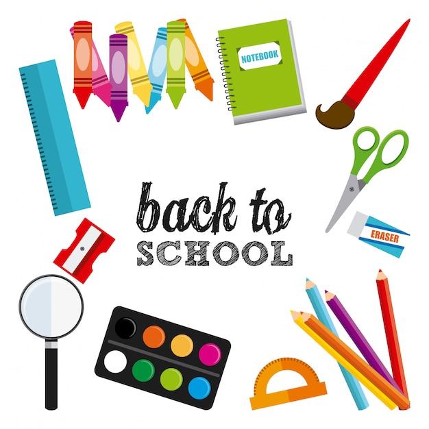 Ritorno al design scolastico Vettore Premium