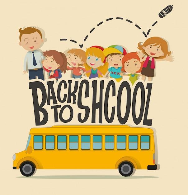 Ritorno al tema della scuola con insegnante e alunni Vettore Premium
