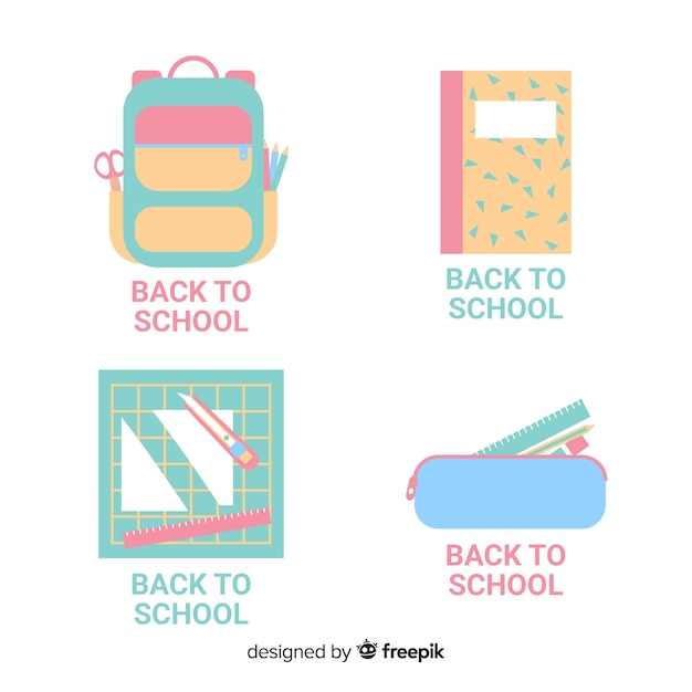 Ritorno alla raccolta di etichette scolastiche Vettore gratuito