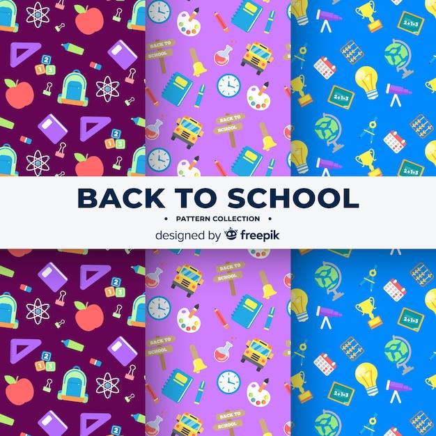 Ritorno piatto alla collezione di modelli scolastici Vettore gratuito