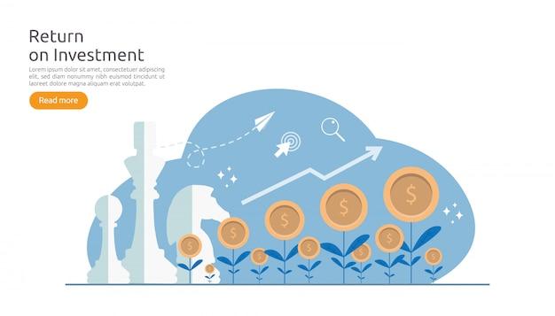 Ritorno roi di investimento o concetto di finanza aziendale di crescita Vettore Premium