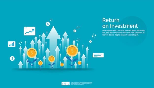 Ritorno sull'investimento roi, concetto di opportunità di profitto. frecce di crescita aziendale per il successo. freccia con aumento delle monete della pianta del dollaro, grafico e grafico. Vettore Premium